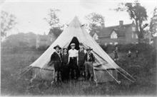 2nd North Walsham Scout Troop's tent pitching team off Aylsham Road (Farman's Cottages in background)