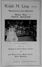 Advert from the 1927 Town Guide showing the interior of Ling's Chemist at 13 Market Place, North Walsham.