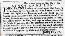 Advert for the King's Arms Hotel which appeared in the Norwich Mercury on Saturday, Jan 22nd., 1780.