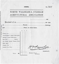 Blank receipt from North Walsham and Aylsham Agricultural Association.