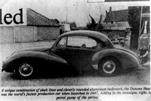 Duncan Industries (Engineers) Ltd. Park Hall, New Road, North Walsham. The Healey-Duncan, fastest production car in 1947.