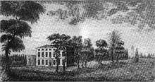 An etching of Westwick House,