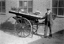 Jack Hall with handcart. Jack had a market garden in Catspit Lane