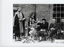 Miss M S Middlewood, Head North Walsham Girls' High School 1947...1967, conducts Prize Giving outside before the new hall was built.