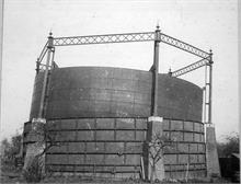 North Walsham Gas Works, Mundesley Road. Gale damage to the Gasometer in March 1895. Photo by Maclean