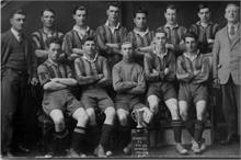 North Walsham Hornets football team, 1929-30 season, winners of the Melton Challenge Cup. Alma Hicks top left.