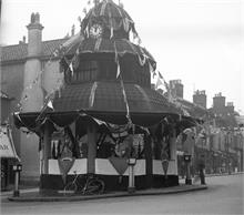 North Walsham Market Cross decorated for the Coronation of King George VI - 12th May 1937.