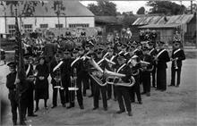 North Walsham Salvation Army Band assembling in the Town Station's Railway Yard on November 11th