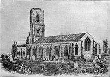 Nth. Walsham's Parish Church showing the tower between the falls of 1724 and 1835 (RML collection)