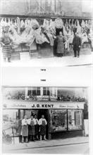 Robert Palmer, Butcher at his doorway in Market Street, North walsham c1910. Kents, c1980 with - Kemp, David Smith, Clive Bird & Denis Woodhouse
