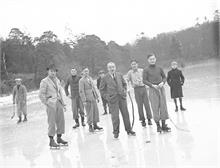 Skating on Captain's Pond in Westwick c1937.