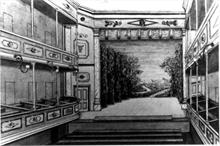 Sketch showing stage of Fisher's Theatre North Walsham