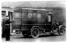 St John's First motorised Ambulance - outside the North Walsham Cottage Hospital.