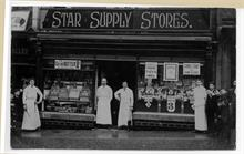 Staff outside the Star Supply Stores, Market Street, North Walsham