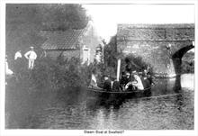 Steam Boat at Swafield Bridge on the North Walsham-Dilham Canal.. Ling collection
