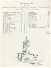 Subcription list and designer's sketch for Drinking Fountain.
