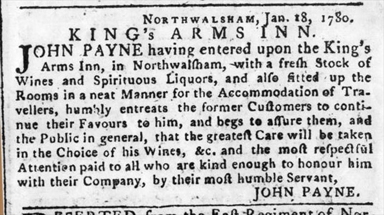 Photograph. Advert for the King's Arms Hotel which appeared in the Norwich Mercury on Saturday, Jan 22nd., 1780. (North Walsham Archive).