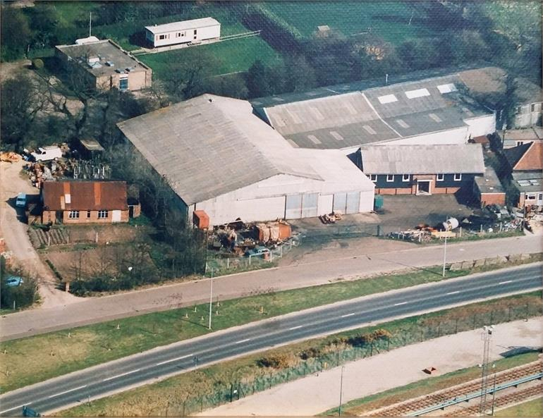 Photograph. Aerial photo of Utting's Engineering on Midland Road, North Walsham c1980. (North Walsham Archive).