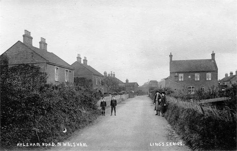 Photograph. Aylsham Road around 1900. (North Walsham Archive).