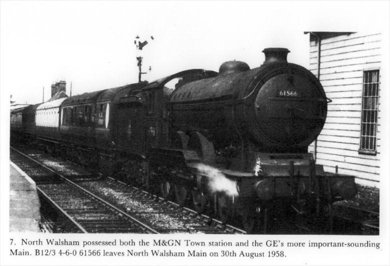 "Photograph. A B12/3 4-6-0 locomotive, No.61566, leaving North Walsham ""Main"" Station on August 30th. 1958 (North Walsham Archive)."