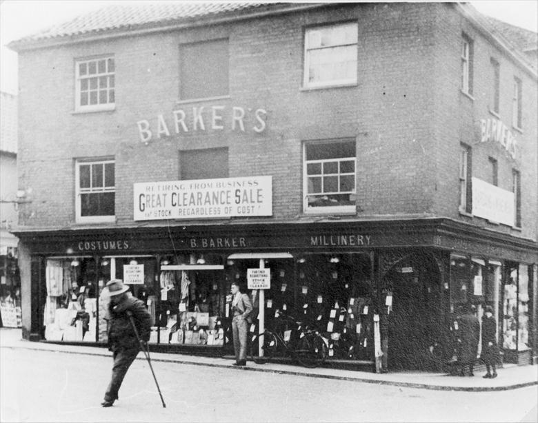 Photograph. Barkers Drapers, Waterloo House, Market Place, North Walsham, C1938 (North Walsham Archive).
