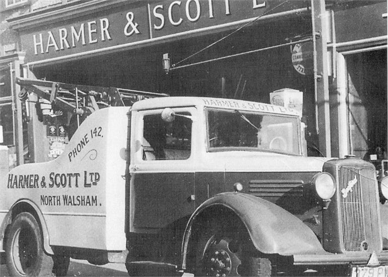 Photograph. Bedford Breakdown Truck at Harmer and Scott's Garage on the Norwich Road. c1950. (North Walsham Archive).