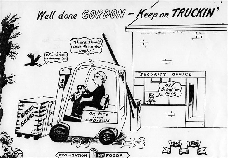 Photograph. Cartoon drawn by Claud Appleton for the retirement of Gordon Gee after 43 years at the Canning Factory (North Walsham Archive).