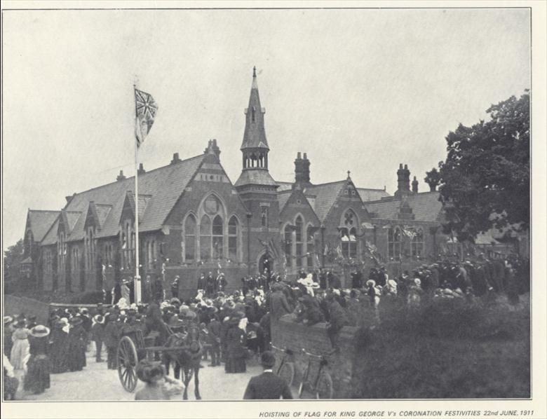 Photograph. Celebration of Coronation of George Vth 1911 at Manor Road School. (North Walsham Archive).