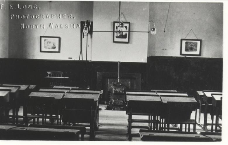 Photograph. Classroom in Paston Grammar School. (North Walsham Archive).