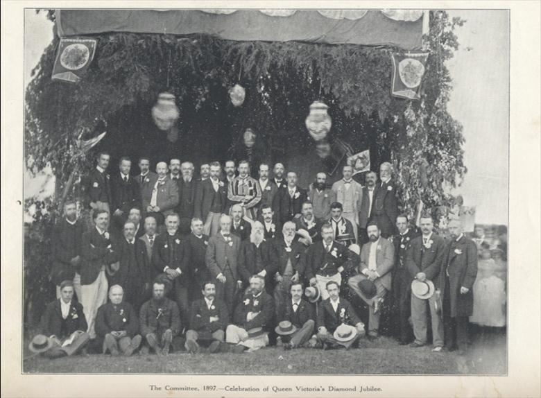 Photograph. The Committee for the celebration of Queen Victoria's Diamond Jubilee 1897. (North Walsham Archive).