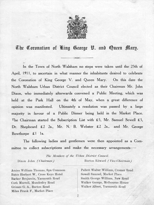 Photograph. Coronation of George V, June 22nd., 1911 - first page of commemorative pamphlet . (North Walsham Archive).