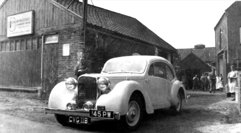 Photograph. Duncan Industries (Engineers) Ltd. Park Hall, New Road, North Walsham. The first Duncan-Alvis leaves on its road test. (North Walsham Archive).