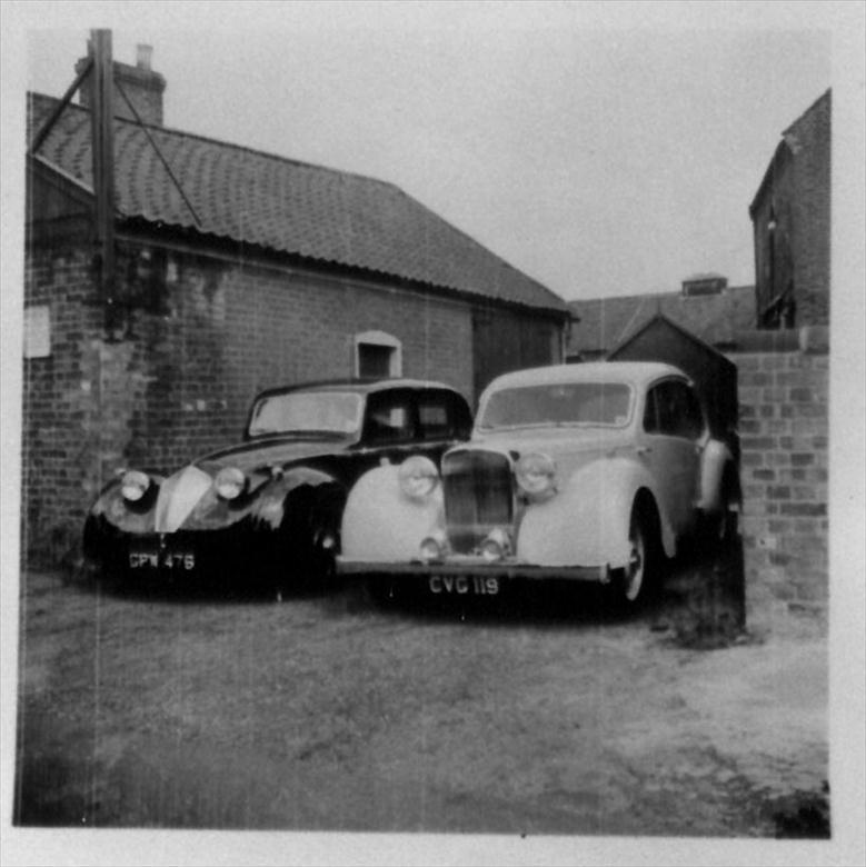 Photograph. Duncan Industries (Engineers) Ltd. Park Hall, New Road, North Walsham. The first Duncan-Alvis with the one and only Duncan-Minx on the left (North Walsham Archive).