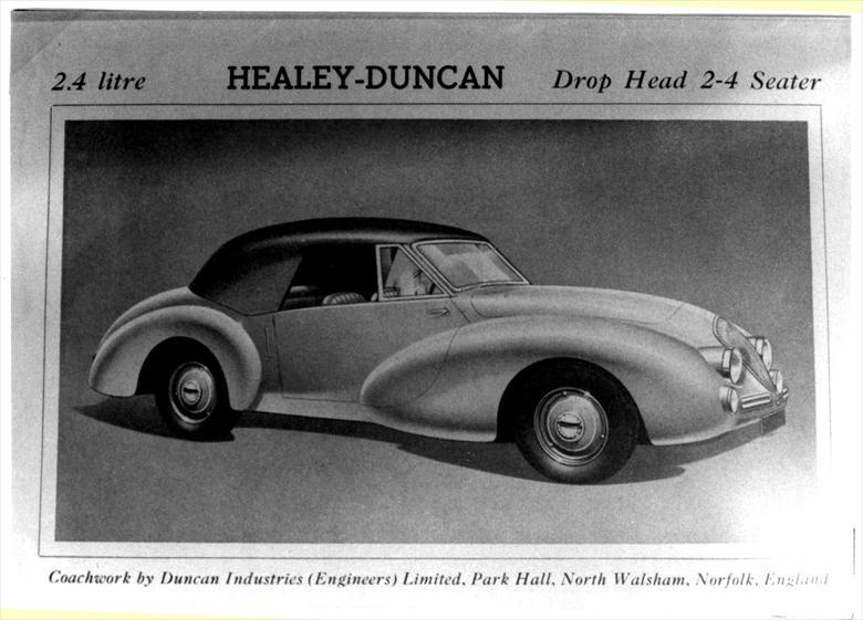 Photograph. Duncan Industries (Engineers) Ltd. Park Hall, New Road, North Walsham. Healey-Duncan 2.4 litre drop head (North Walsham Archive).
