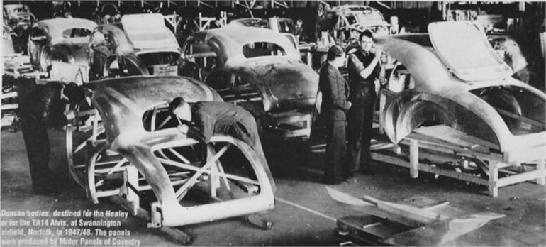 Photograph. Duncan Industries at Swannington, making Alvis Duncan and Duncan Healey bodies.