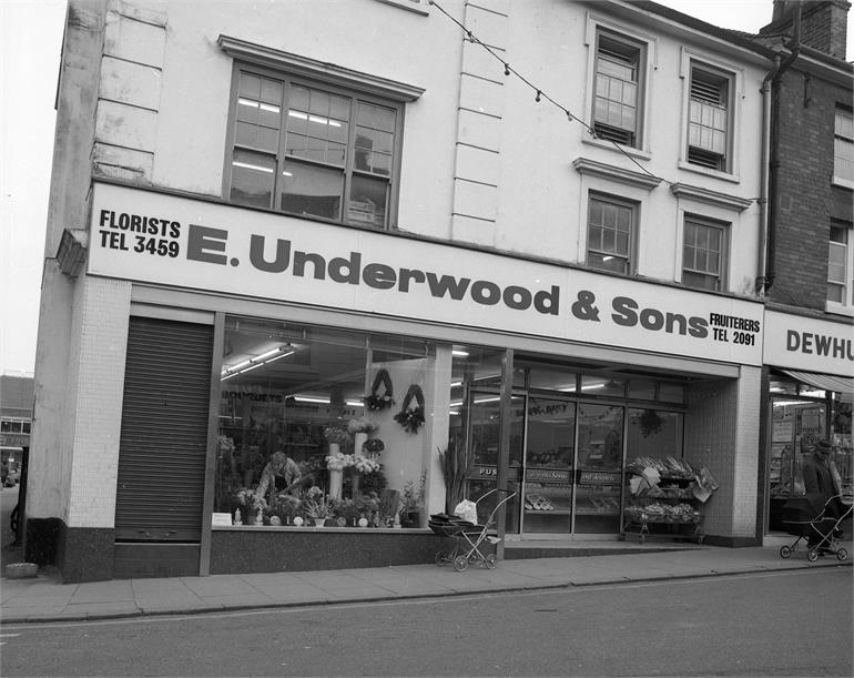 Photograph. E. Underwood & Sons Fruiterers - 1974 (North Walsham Archive).