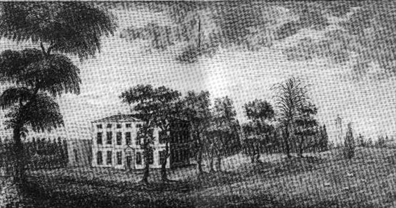 "Photograph. An etching of Westwick House, ""The Seat of John Berney Petre, Esq."", published in November 1779 by M.Booth of Norwich. (North Walsham Archive)."