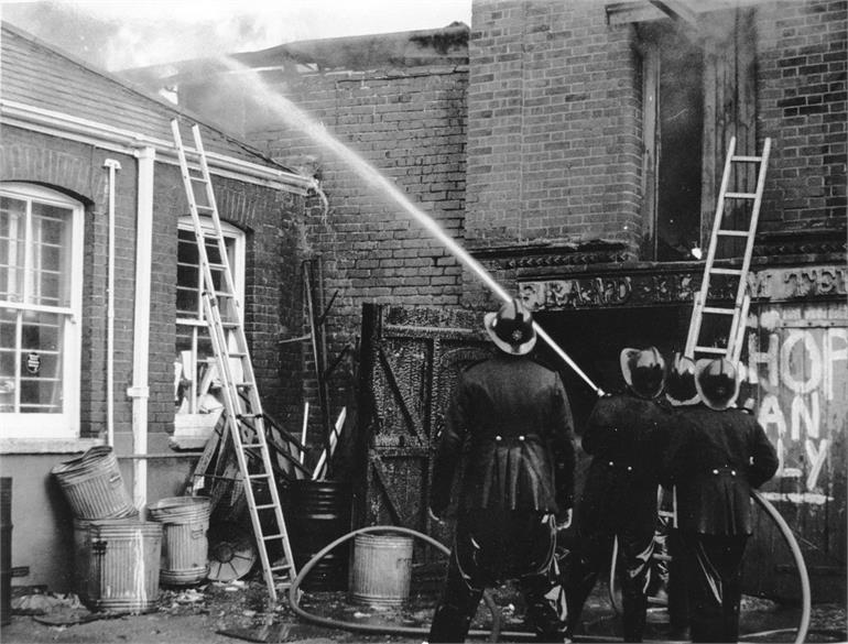 Photograph. Fire at F. Randell Ltd. 9th February 1976. (North Walsham Archive).
