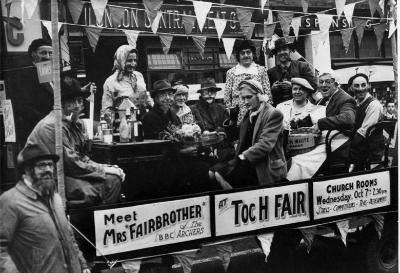 Photograph. Float in North Walsham Market Place to publicise theToc H Fair. (North Walsham Archive).