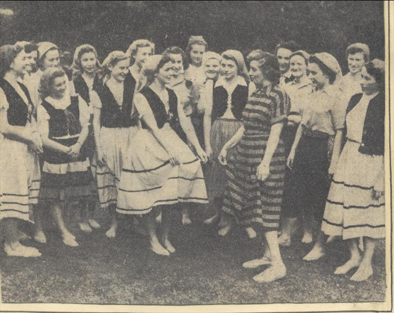 Photograph. G.F.S. North Walsham, dance at the Royal Albert Hall before the Queen in 1950. (North Walsham Archive).