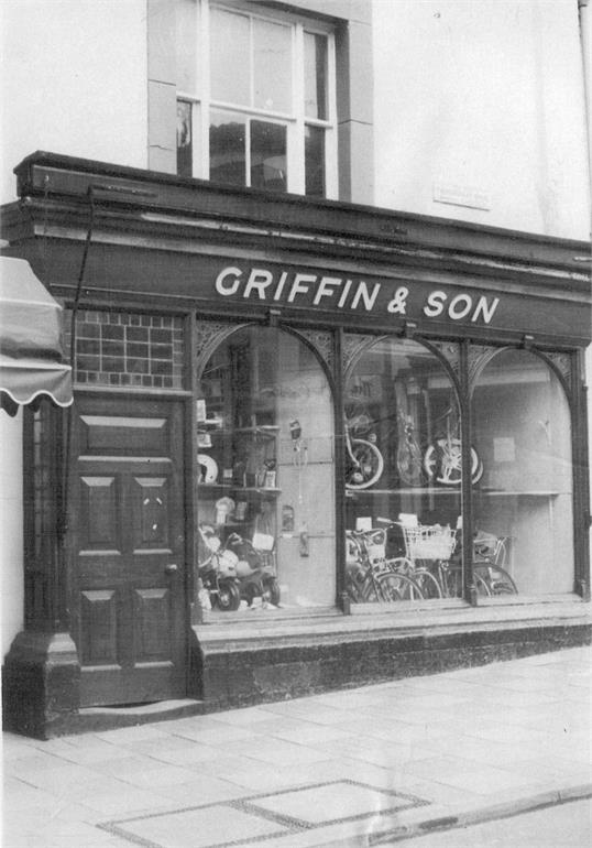 Photograph. Griffin's Cycle Shop on Market Street, North Walsham. (North Walsham Archive).