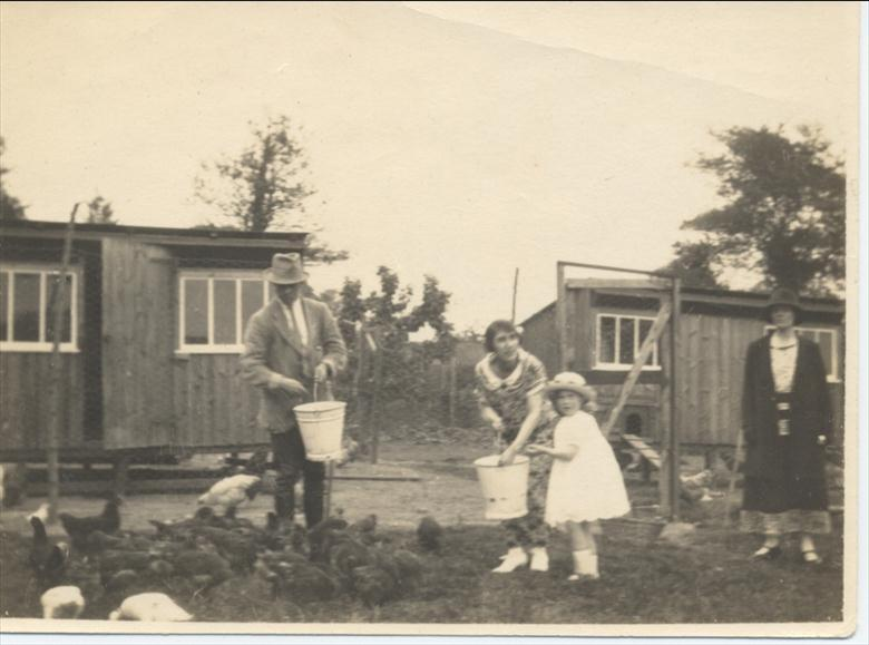 Photograph. Land belonging to Aylsham House in the 1920's. Barbara Blewitt (now Thirwell) helps to feed the chickens. (North Walsham Archive).