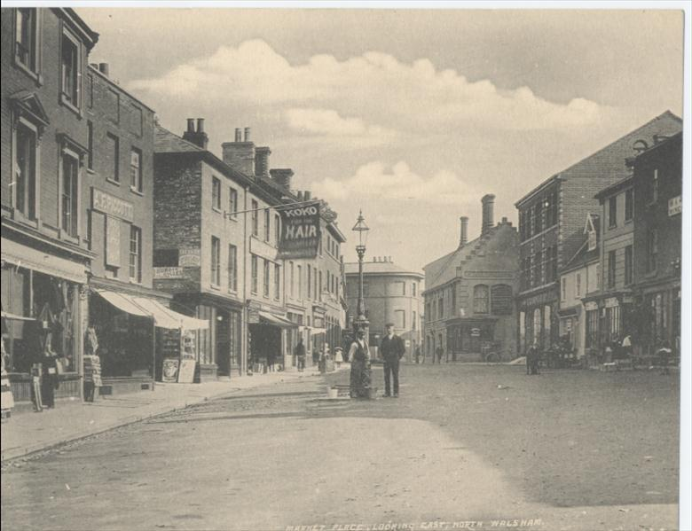 Photograph. Market Place North Walsham, looking east. (North Walsham Archive).