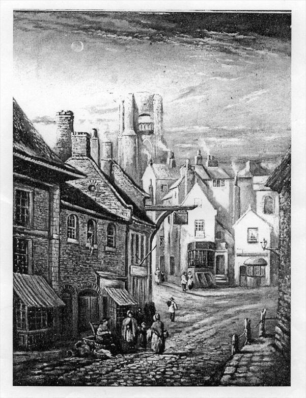 Old etching of Market Street, North Walsham