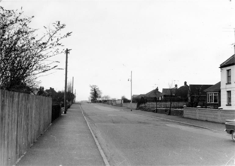 Photograph. Mundesley Road, North Walsham in the 1950s (North Walsham Archive).