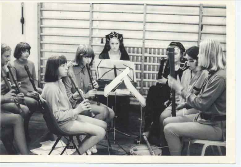 Photograph. Musicians for production of 'Alice' at Girls' High School. (North Walsham Archive).