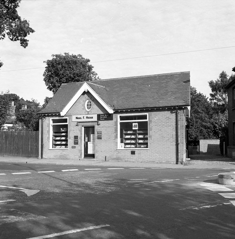 Photograph. Nigel Hedge's Estate Agents Office at No.29 Grammar School Road. By 1978, Nigel's office was at 29b Market place. (North Walsham Archive).