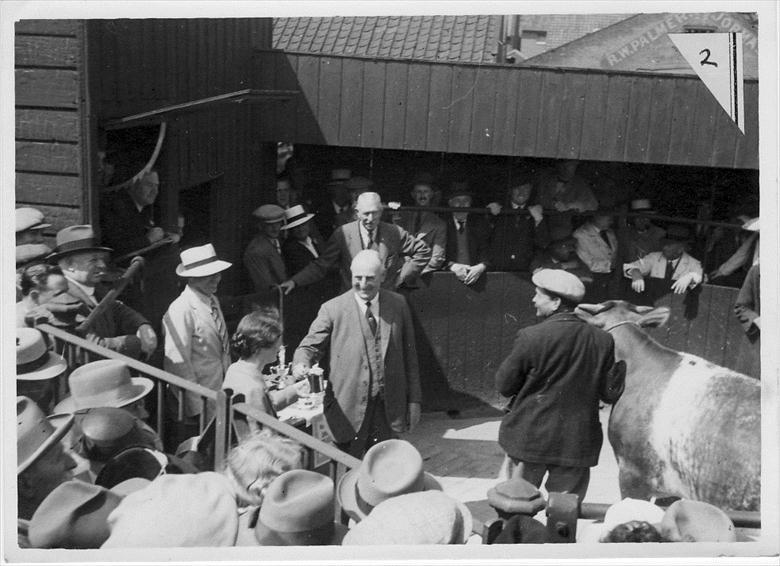 Photograph. North Walsham Calf Club Prize Giving. at North Walsham Cattle Market, Yarmouth Road, North Walsham. Now the site of Roys Store. Photo R.E.R.Ling (North Walsham Archive).