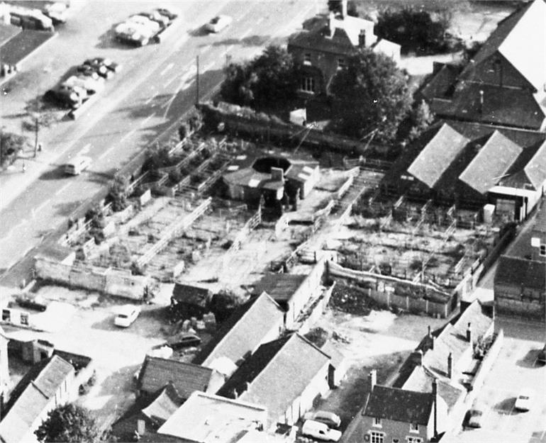 Photograph. North Walsham Cattle Market aerial view (North Walsham Archive).