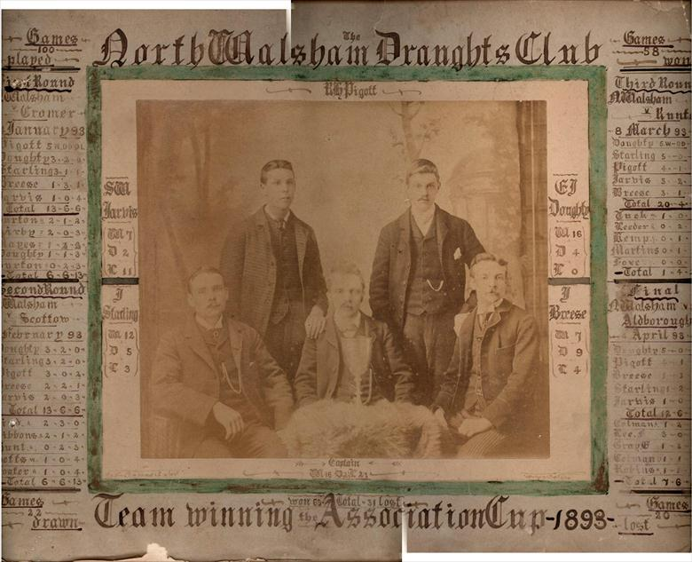 Photograph. North Walsham Draughts Club Team Winners of the Association Cup in 1893.... 58 Games won, 22 drawn and 20 lost. (North Walsham Archive).